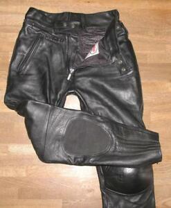 HERREN-Motorrad-Kombihose-Lederhose-in-schwarz-Marke-034-DAMEN-LEATHERS-034-Gr-50