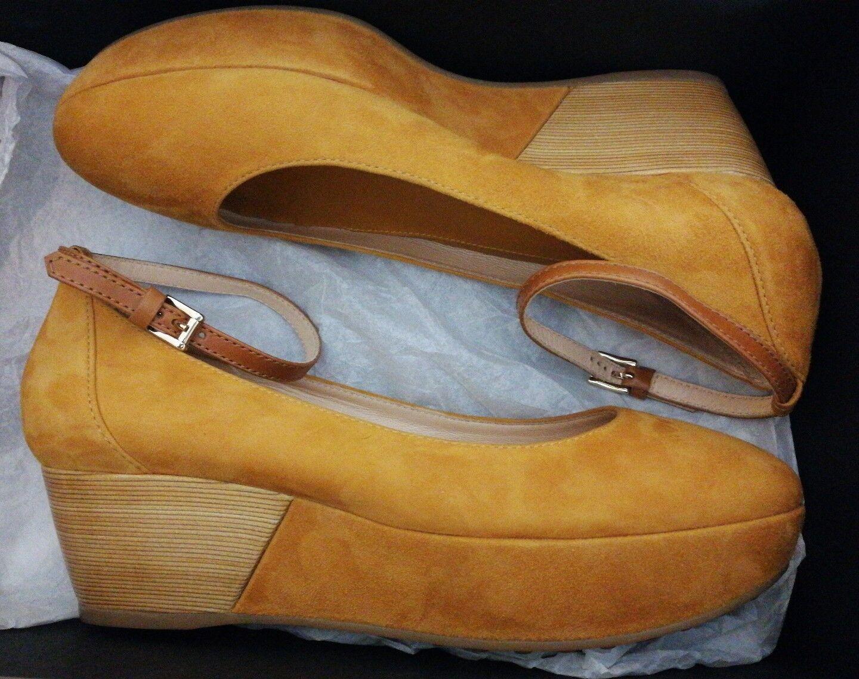 Tod's Ankle Strap Suede Platform Wedge Pumps Pumps Pumps Damenschuhe Schuhes Mustard uk 4.5 eu 37 2fbea9