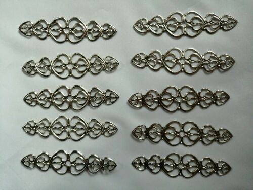 10 Metal Filigree Silver Embellishment Cardmaking Scrapbooking Decor Craft Art