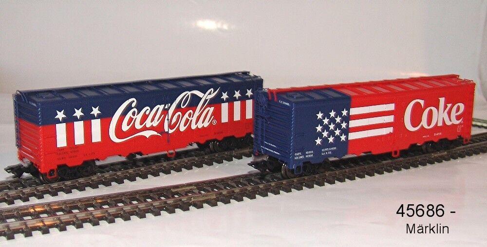 Märklin 45686 Kühlwagenset mit 2 US-Kühlwagen  Coca-Cola    NEU in OVP