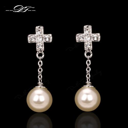 Cubic Zirconia Cabinet Cross Drop//Dangle Earrings Fashion Pearl Beads Jewelry