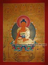 """42"""" x 30.75"""" Shakyamuni Buddha Gold Buddhist Tibetan Thangka Scroll Painting"""
