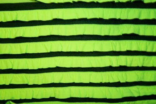 Neon Green Black Stripe Ruffle 95/% Polyester 5/% Spandex Lycra Stretch Sewing BTY