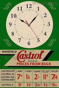 Castrol-pared-reloj-Ideal-Para-Garaje-mancave-etc-REGALO-any-Gasolina-Cabeza