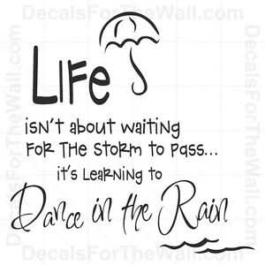 Life Isnt About Waiting For The Storm To Pass Wall Decal Vinyl Art