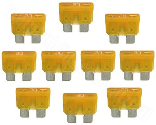 10x Fahrzeugsicherungen Flachstecksicherungen ATO 20A gelb 20 A Ampere 32V