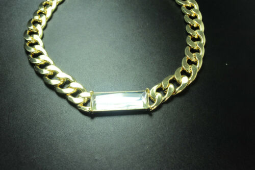 STURDY CURVED CHAIN GOLD CHOKER NECKLACE WITH SPARKLING GLASS STONE CL9//12