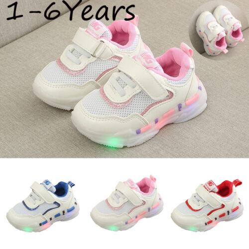 Children Kids Baby Girls/&Boys Mesh LED Light Luminous Run Sport Sneakers Shoes