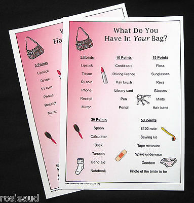 BRIDAL SHOWER/HENS NIGHT - WHAT DO YOU HAVE IN YOUR BAG? GAME - FOR 20 PLAYERS
