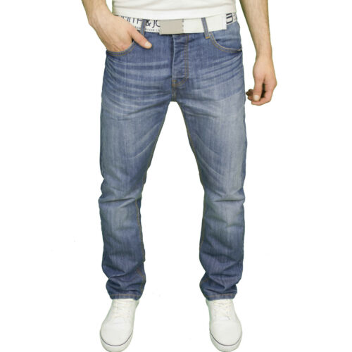 Smith /& Jones Mens Branded Regular Fit Straight Leg Belted Jeans BNWT