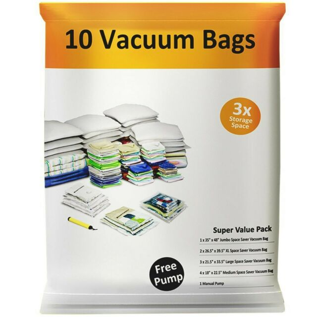 Pack of 10 Vacuum Storage Bags Compress Seal Closet Space Saving Organize