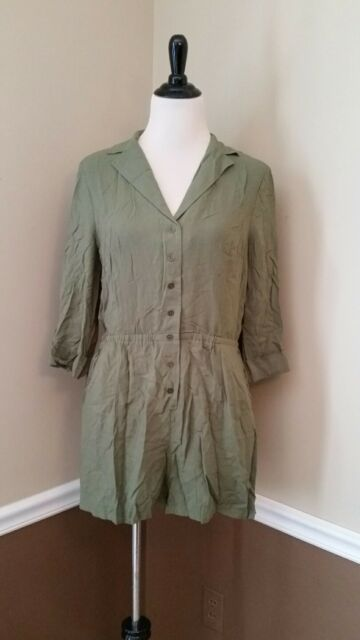 28e22f296d4db NEW Modcloth Romper 2X Olive Green 3 4 Sleeves Collared Field With Joy  59