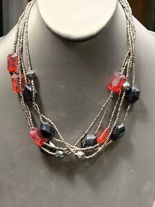 "Vintage Boheniman Red And Black Grey Seed Bead Multi Strand Necklace Boho 16"""