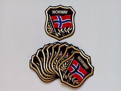 "NORWAY Flag in shield Embroidered Patches 3.25/""x2.75/"""