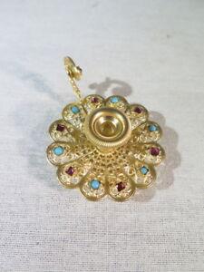Ancien Tres Joli Petit Bougeoir En Laiton Dore Poupee Miniature Napoleon Iii