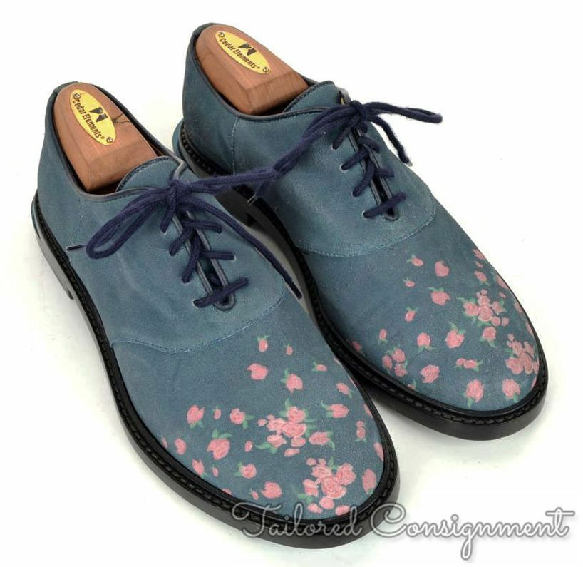 Band of outsiders Hombres Azul Floral Ante De Cuero Hombres outsiders Zapatos Oxford-/US 7 0a6340