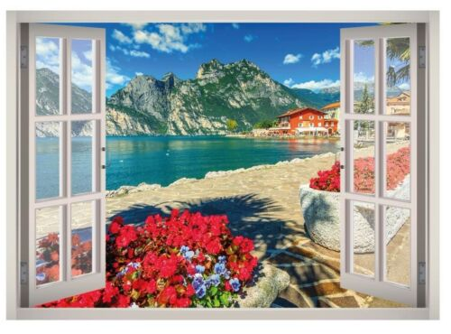 Lake Garda View Window 3D Wall Decal Art Mural Home Decor Canvas Vinyl W81