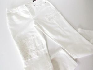 Chico-s-Womens-White-Lace-Patches-So-Slimming-Girlfriend-Ankle-Jeans-size-4-P