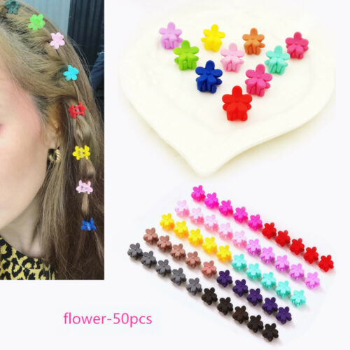 50 Pcs Girls Mini Hair Clips Hair Claws Mix Color Flower Clamps Hair Accessories