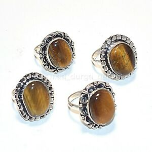 New 5 Pcs Lot Natural Tiger Eye Gemstone 925 Sterling Solid Silver Rings RS-7