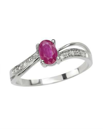 STUNNING SOLID 14K WHITE gold GENUINE RUBY AND .06CTW DIAMOND RING 7