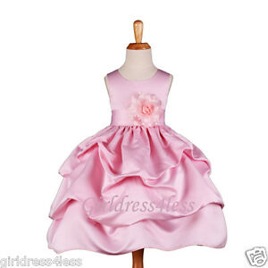 72fe43381520b NEW PINK WEDDING PICKUP BABY PICTURE FLOWER GIRL DRESS 6M 12M 18M 2 ...