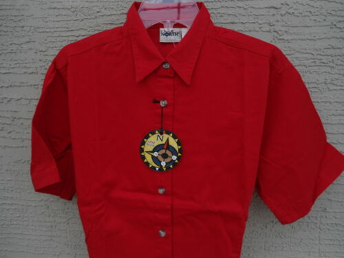 NWT LADIES 1250 NORTH //S SOFT  COTTON  TWILL BUTTON FRONT TOP// BLOUSE RED S