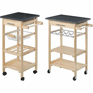 Image Is Loading Kitchen Trolley Island Cart Wheels Wood Granite Chopping