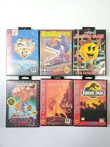Sega-Genesis-Game-Bundle-Lot-of-6-in-Box-Jurassic-Park-Animaniacs-Ms-Pacman-CIB