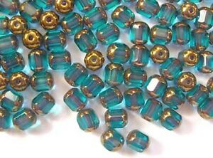 40-AQUA-MARINE-faceted-lantern-Czech-glass-beads-6mm