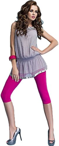 Damen bequeme Leggins Baumwolle blickdicht 3//4 capri rosa pink Gr M-L Leggings