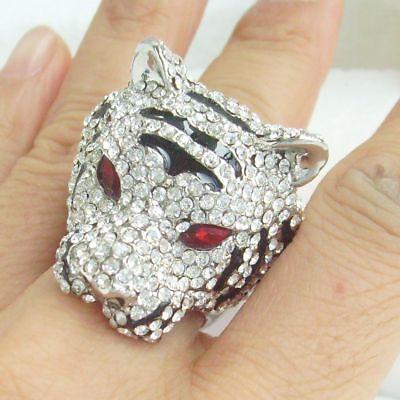Unique Animal Tiger Cocktail Ring Austrian Crystal