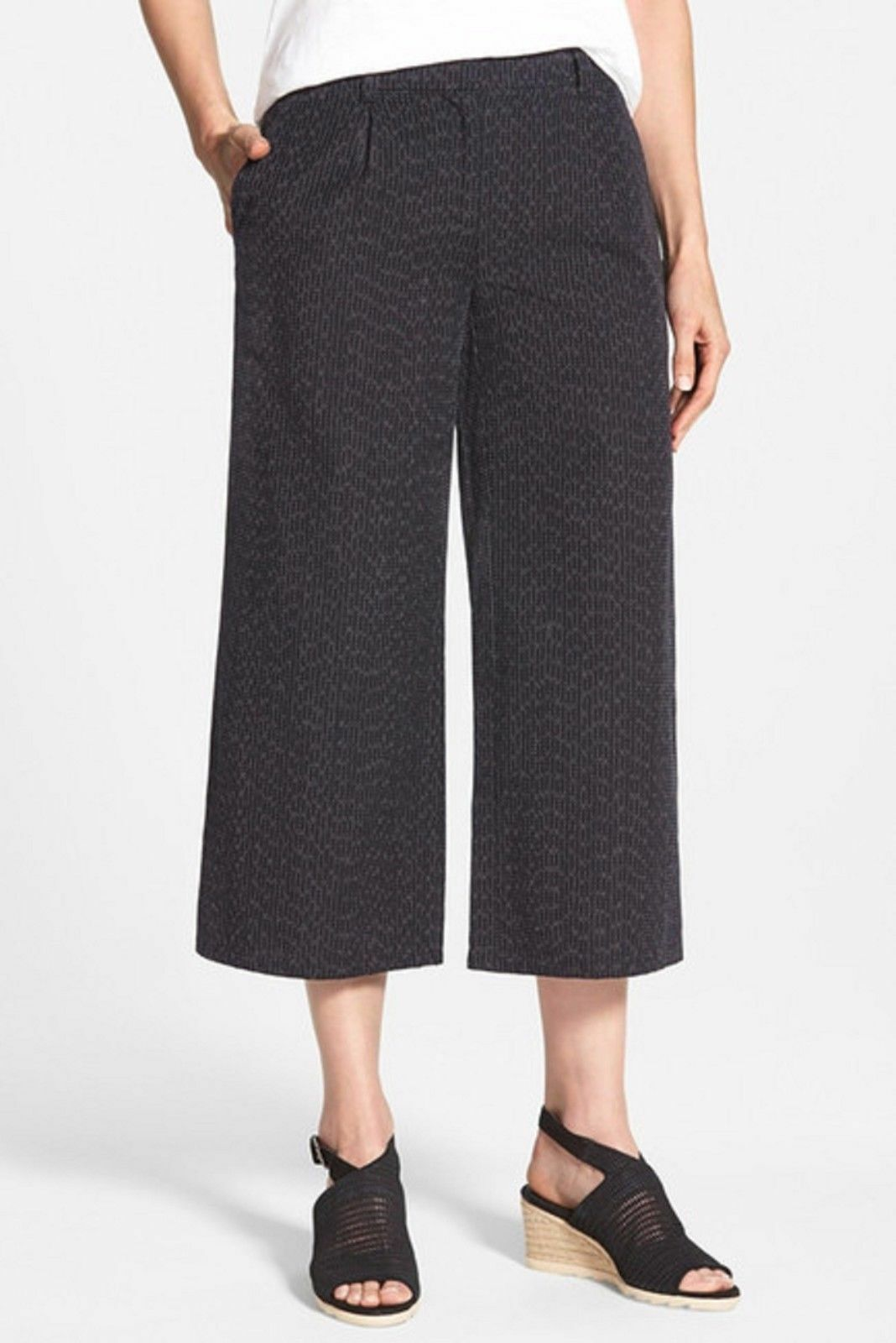 NWT Eileen Fisher Wide Leg Organic Cotton Crop Pants.SZ  M