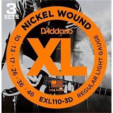 D'Addario EXL110-3D Electric Guitar Strings 10-46 (3 Set Pack) Tone & Long Life.