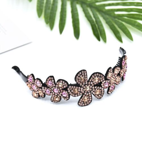 Women Flower Crystal Rhinestone Hairpin Babby Pin Bun Wrap Headpiece Jewelry