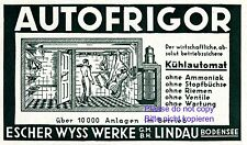 Kühlschrank Aurofrigor Lindau Reklame 1929 Escher Wyss Reklame Kühlautomat +