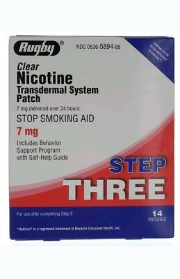 Rugby Clear Nicotine Patch 7 Mg 14 Patches Step 3 Expires 3 21 Ebay