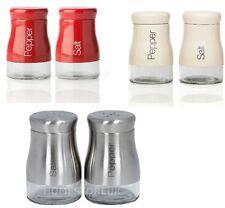 SALT AND PEPPER SHAKER SET STAINLESS STEEL / RED / CREAM GLASS POT CONDIMENT JAR