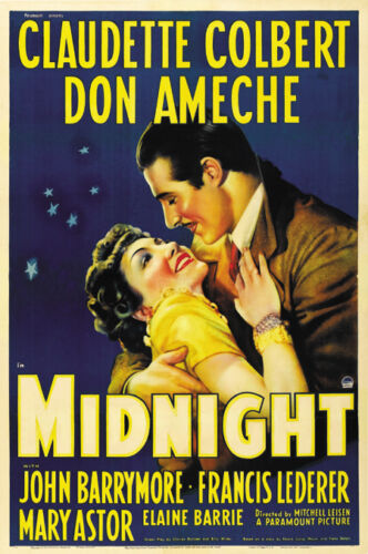 Midnight Claudette Colbert vintage movie poster 24x35 inches