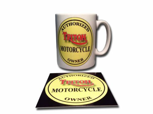 TRITON OWNER CERAMIC MUG PLUS **FREE** ENAMELLED FINISH COASTER,RETRO.