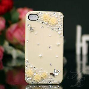 Apple-iPhone-4-4S-Hard-Case-Handy-Tasche-Schutz-Huelle-Etui-Perle-Steine-3D-Creme