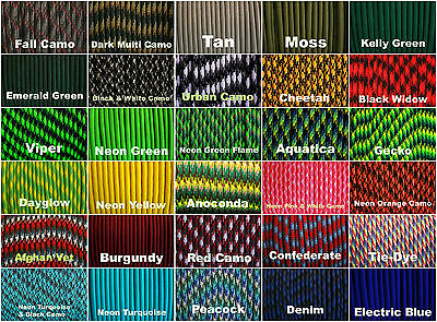 550 paracord parachute cord US Mil Spec Type III 7 Strand 10ft 20ft 50ft 100ft