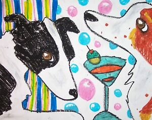 BORDER-COLLIE-Drinking-a-Martini-Dog-Pop-Folk-Vintage-Art-8-x-10-Signed-Print