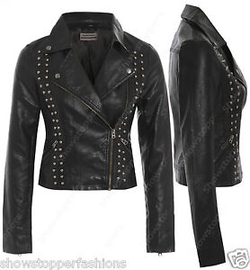 Size 8 10 12 14 NEW Womens BIKER STUD JACKET FAUX LEATHER Ladies ZIP Coat Black