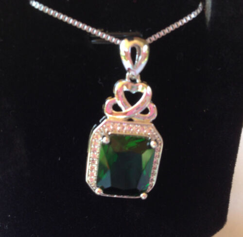 """18/"""" Sterling Silver Green Jade Gemstone Micro Pave Crystal Pendant Necklace A25"""