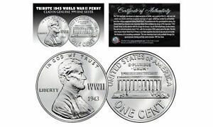 1943-TRIBUTE-Steelie-WWII-PENNY-Coin-Clad-in-Genuine-999-Fine-SILVER-Lot-of-3