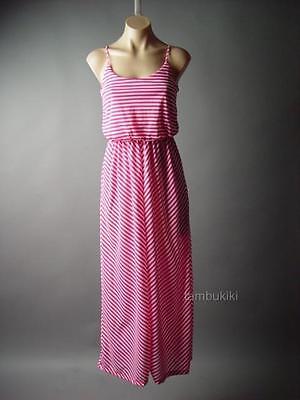 Hot Pink White Stripe Blouson Strappy Slip Casual Long Maxi 98 mv Dress S M L