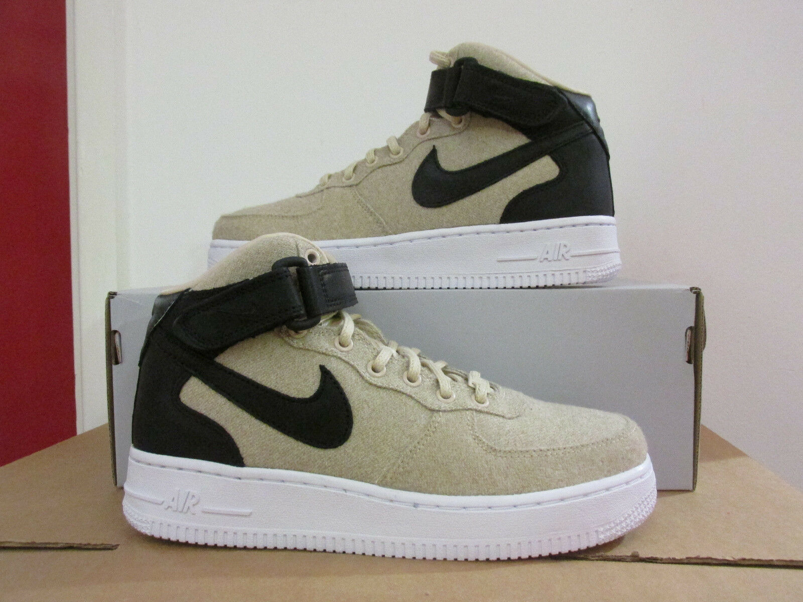 Nike Womens Air Force 1 07 Mid LTHR PRM Hi Top Trainers 857666 001 CLEARANCE