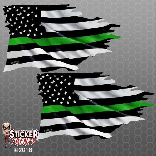 Thin GREEN Line TATTERED Flag Sticker Military Ranger USA Vinyl Decal Car Truck