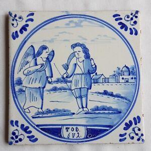 Antique-Biblical-Delft-Wall-Tile-Tob-6-2-Tobit-Tobias-Bible-Scene